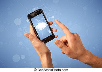 Female hand holding smartphone