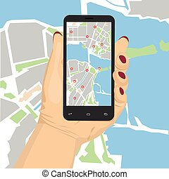 female hand holding smartphone with mobile gps or glonass navigation map