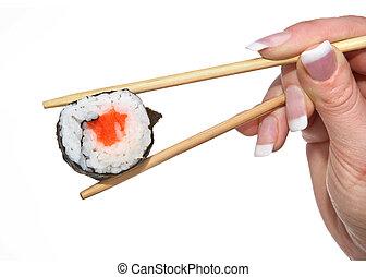 female hand holding sushi #2