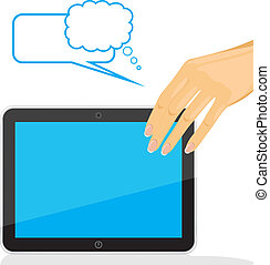 Female hand holding tablet pc