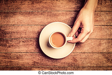hand holding white cup of coffee wiht milk