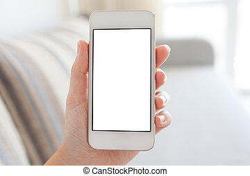 female hand holding white phone with isolated screen