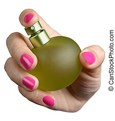 female hand holds a bottle of perfume isolated on a white background