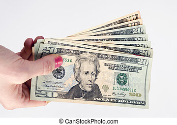 Female Hand Holds Cash Payment Currency Twenty Dollar Money