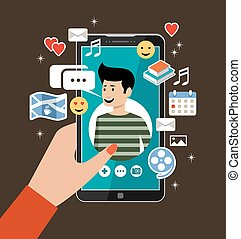 Female hand holds phones with a men's profile. Online dating and social networking concept. Virtual love.