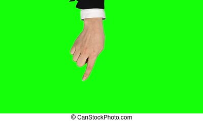 Female hand in black jacket and white shirt is performing swipe left and right, double swipe left and right at tablet screen gesture. Chroma key. Single hand pre-keyed touch-screen gestures. Closeup