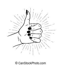 Female hand in Like gesture