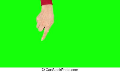 Female hand in red sweater is performing Rotate at tablet screen gesture. Chroma key. Single hand pre-keyed touch-screen gestures, easily removed. Female hand showing multitouch gestures. Close up