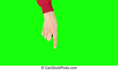 Female hand in red sweater performing single tap and double tap tablet screen gesture on green screen. Single hand pre-keyed touch-screen gestures. Female hand showing multitouch gestures. Close up