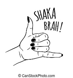Female hand in shaka sign gesture - Hand drawn female hand...