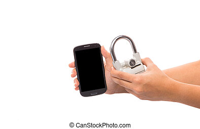Female Hand, Padlock and Smartphone
