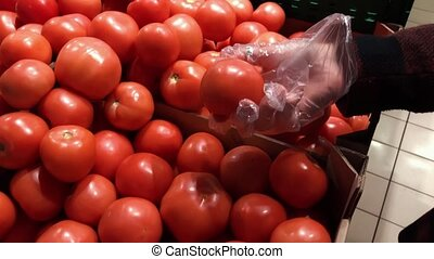 Female hand pick tomatoes in market. Closeup concept of selection and buying fruit or red vegetable.