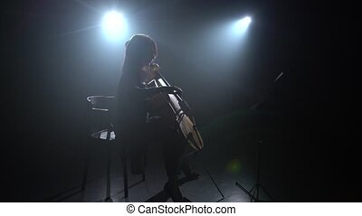 Female hand plays with a bow on a cello in dark studio. Silhouette. Black smoke background
