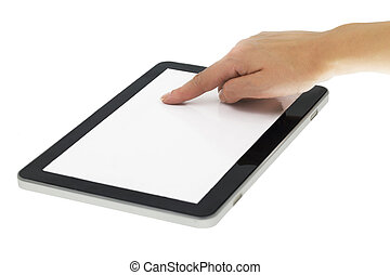 Female hand pointing on tablet with blank screen isolated