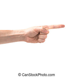 Female hand pointing right
