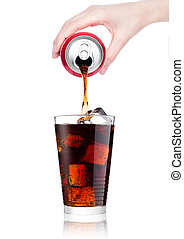 Female hand pouring cola drink from tin to glass