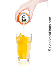 Female hand pouring orange soda from can to glass