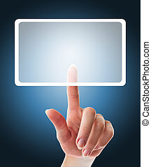female hand pushing a button on a touch screen interface