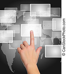 female hand pushing a button on a touch screen interface over world map