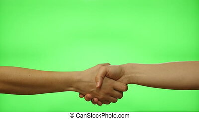 Female hand shake on a green screen