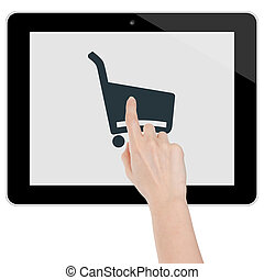 Female hand shopping on a tablet computer isolated