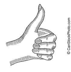 Female hand showing symbol like.