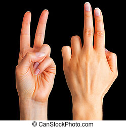 Female hand showing two fingers in the peace symbol