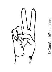 Female hand sign show sign victory or peace sign. Vector black vintage illustration