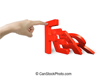 Female hand stopping domino of red fear word falling