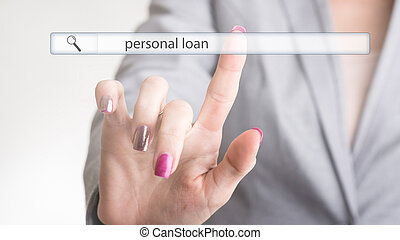 Female hand touching a web search bar with the word personal loan on a virtual screen