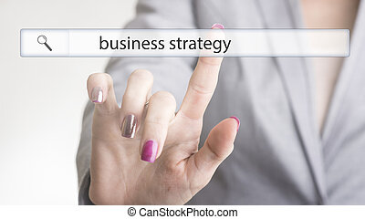 Female hand touching a website navigation bar with the text business strategy