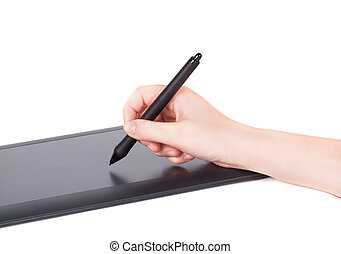 Female Hand Using Graphic Tablet.