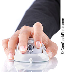 female hand using mouse