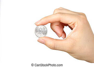female hand with a Japanese 100YEN coin on white background