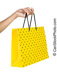 Female hand with bag a over white background