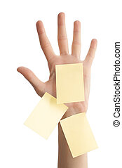 female hand with blank notes