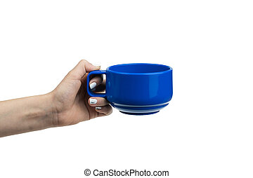 Female hand with blue cup isolated on white background.