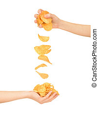 Female hand with chips isolated on white