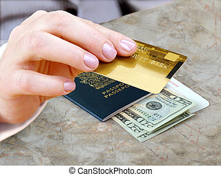 Female hand with credit card