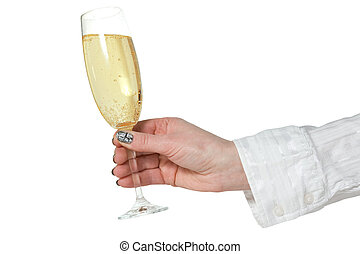 female hand with glass of champagne