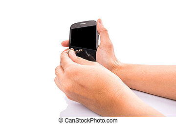 Female Hand With Key And Smartphone