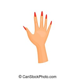 Female hand with manicure on white background.