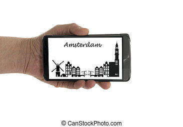 female hand with mobile phone dubai skyline