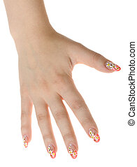 Female hand with nail art - figure a camomile