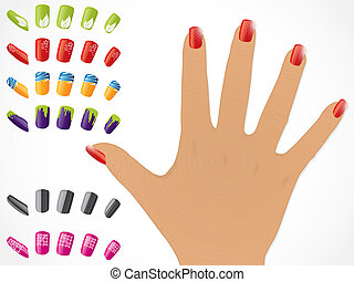 Female hand with editable painted glossy nails