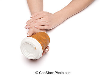 Female hand with paper cup of coffee isolated on white with clipping path