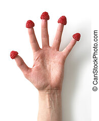 hand with raspberries on all the fingers 1