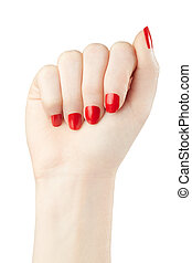 Female hand with red nail polish