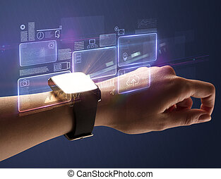 Female hand with smartwatch and dark background