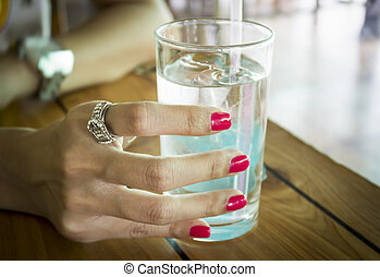 Female hand with stylish colorful nails